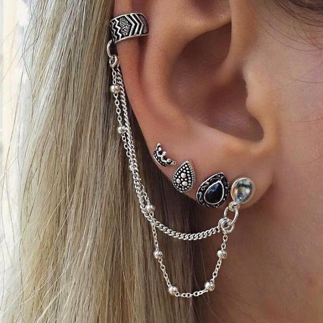 4 Pcs Set Women Cool Rock Punk Clip Earrings Oorbellen Simple Retro Silver Earring Ear