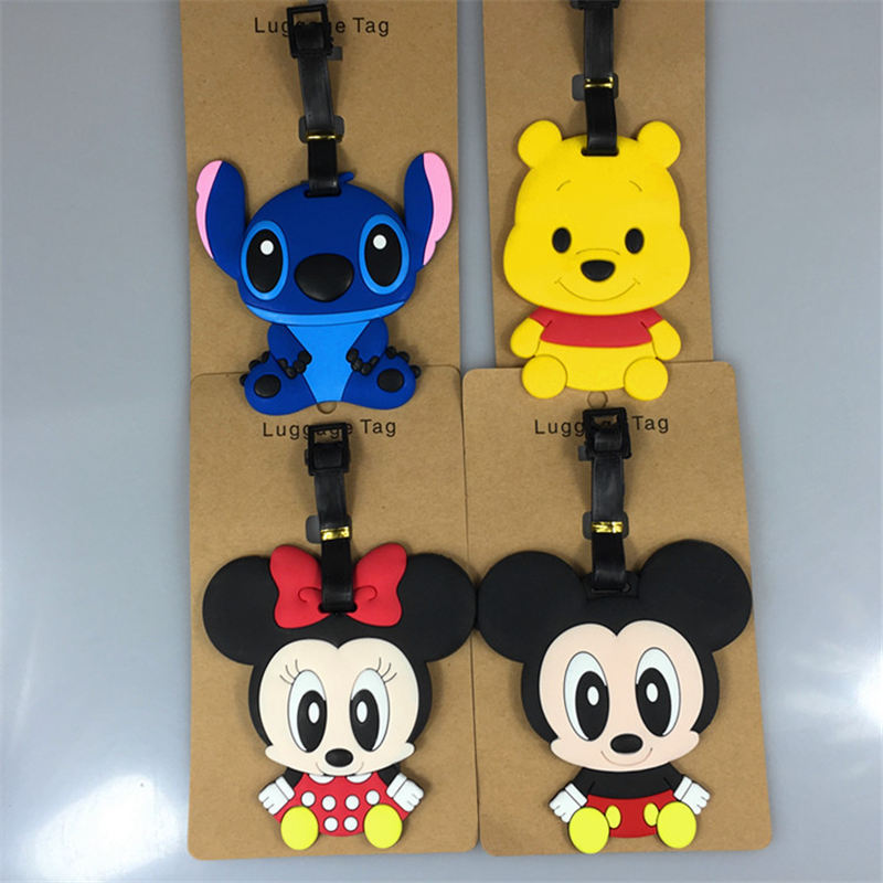 Disney Mickey Minnie Stitch Winnie The Pooh Daisy Luggage Tag Boarding Pass  Boarding Tags Portable Label