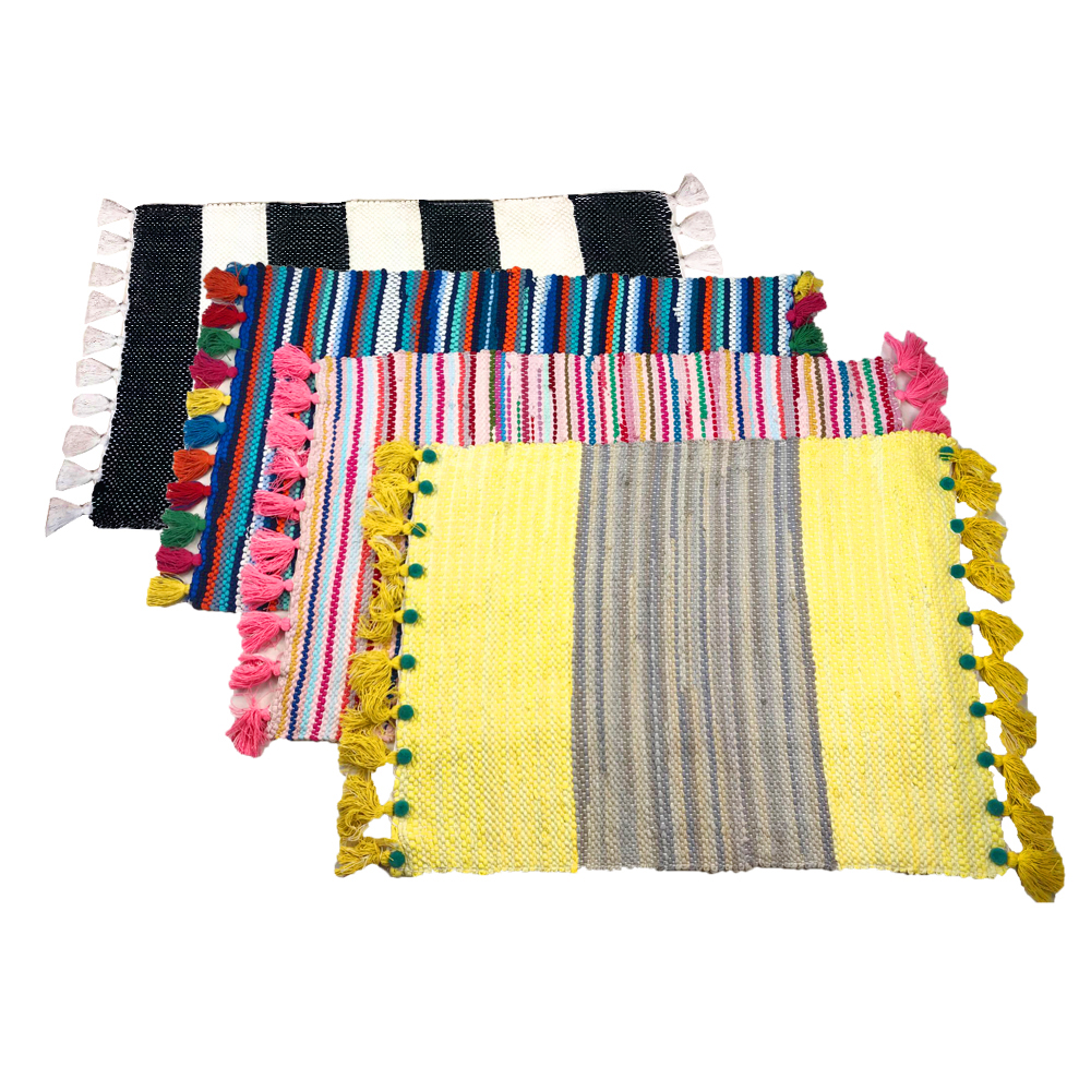 Us 27 92 20 Off 100 Handmade Reversible Rag Rug Black And White Stripe Tels Area Rugs Machine Washable Yellow Pink Blue Striped Carpet In
