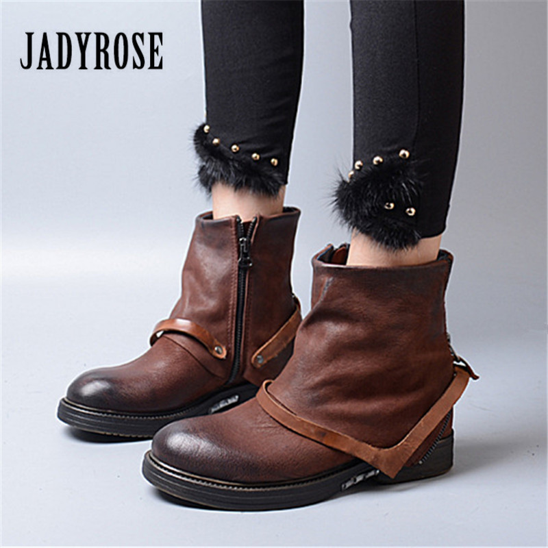 Jady Rose Genuine Leather Ankle Boots for Women Female Flat Botas Mujer Platform Rubber Shoes Woman Brown Autumn Winter Boot сматрфон xiaomi mi a1 64gb gold
