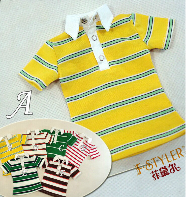 BJD doll clothes SD MSD YOSD Doll clothes Summer T-shirt stripe POLO shirts   Free shipping 1 3rd scale 65cm bjd nude doll bazael bjd sd doll boy with face up not included clothes wig shoes and accessories