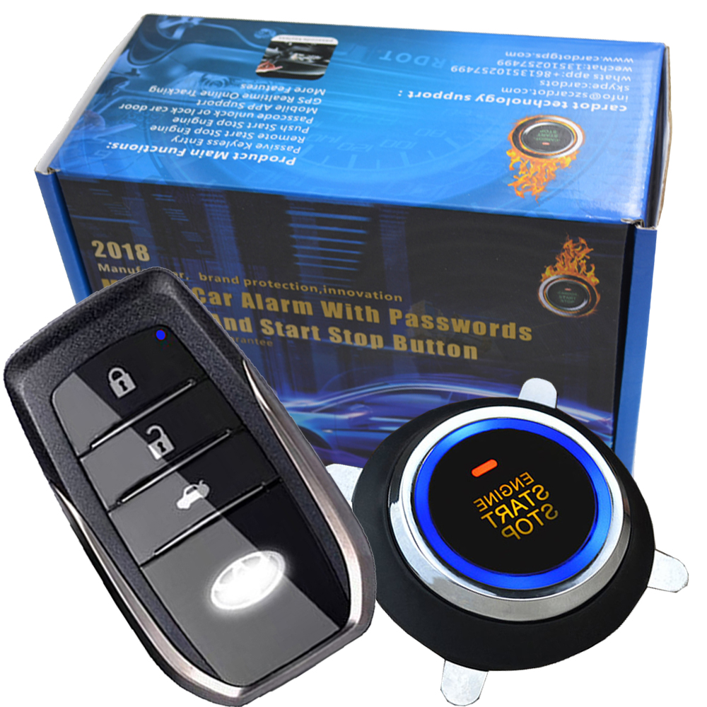 smart key engine start stop system with side door and illegal start alarm protection touch passwords entry alarm car push start