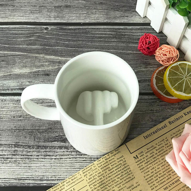 Creative White Coffee Mug Ceramic Middle Finger Funny Cup For Office