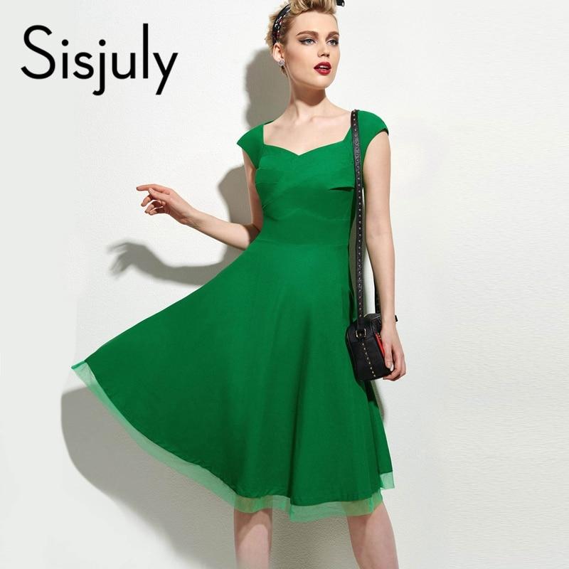 Sisjuly vintage dress summer sexy negro rojo retro dress v cuello Verde Elegante