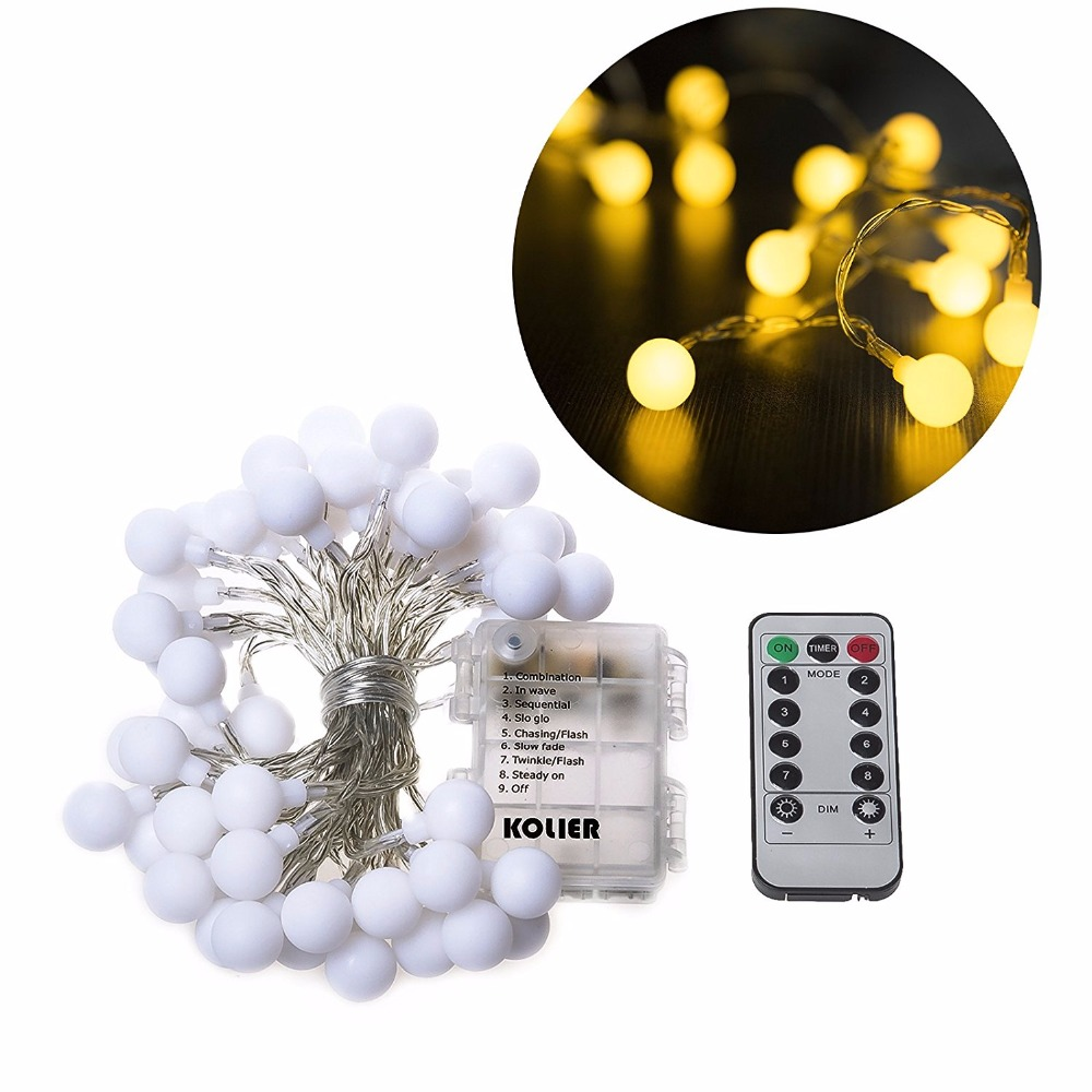 globe string lights 5m 50leds with remote control battery operated christmas lights waterproof indooroutdoor for christmas tree in holiday lighting from