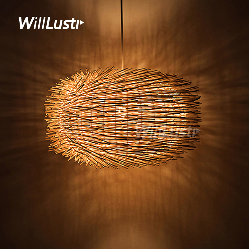 цена willlustr wicker pendant lamp handmade wood suspension light bird nest shape hanging lighting bar hotel restaurant mall lounge