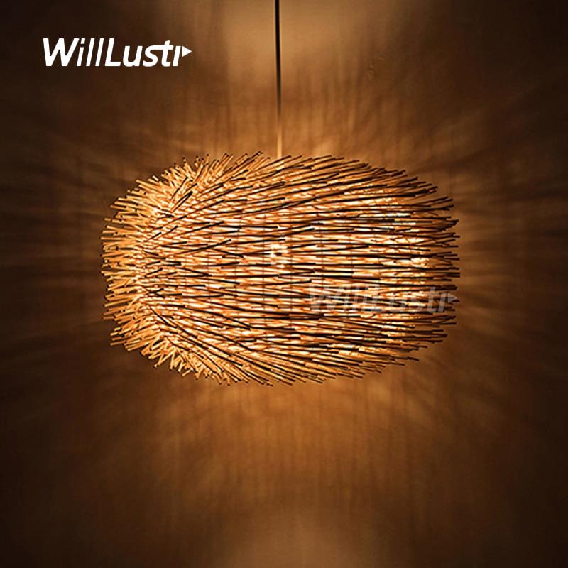 Willlustr Wicker Pendant Lamp Handmade Wood Suspension Light Bird Nest Shape Hanging Lighting Bar Hotel Restaurant Mall Lounge