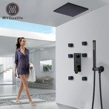 Mat siyah büyük yağış duş bataryası seti tek kolu sıcaklık dijital ekran gizli duş karıştırma vanası musluk