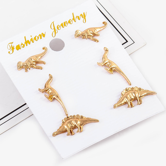 3 Pairs Pack Set Dinosaur Earrings For Women