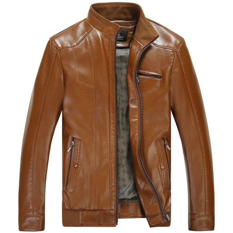 MSAISS Spring New Brand Men's Leather Jackets Men's Leather Coat Cultivate One's Morality Middle-aged Men Leisure Leather Coat