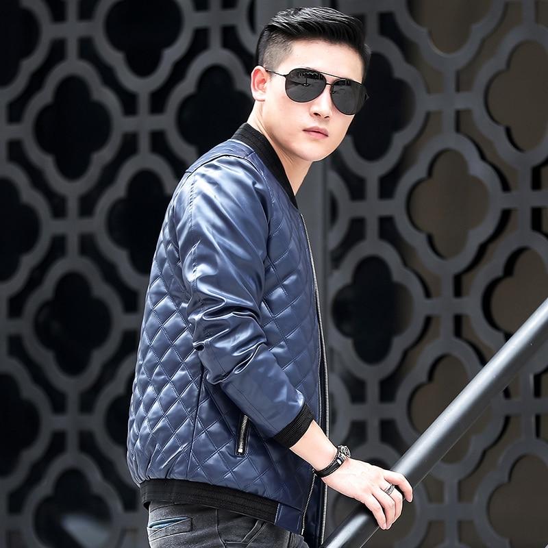 Glissière Veste Avec 2018 Classique Manteau Entrelacées De Couette À Homme Fermeture Conception Nouveau Vêtements bleu Noir Mode Pu Style wwxPBFaq