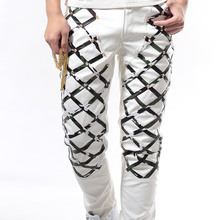 Male PU Leather Trousers Fashion Red Black White Rivet Tight Pants Punk Hip-Hop Rock Singer DJ DS Stage Costume