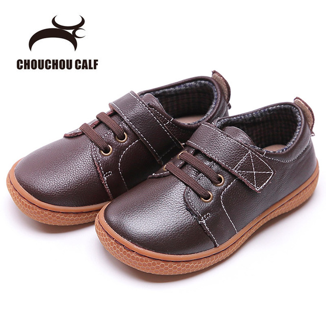 Genuine Leather kids shoes Autumn children casual boys shoes girls leather  shoes boys sneakers coffee brown 53c4107ce