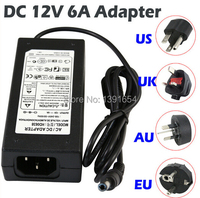 Free Shipping 1 Piece DC 12V 6A 72W Power Supply Charger Adaptor For LED Strip 5050