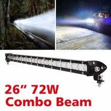 26 inch 72 W בר אור LED עבור רכב לנהיגה רכב Offroad משאית 4x4 4WD טרקטורונים SUV עבודת בר אור 12 V 24 V רכב פנס משולבת קרן
