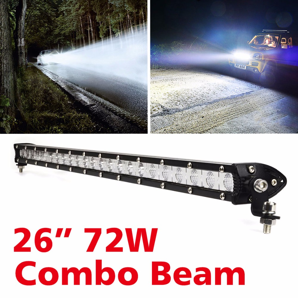 26 inch 72W LED Light Bar For Car Driving Vehicle Offroad Truck 4x4 4WD ATV SUV Work Light Bar 12V 24V Car Headlight Combo Beam 5inch new led driving light 40w led headlight low beam lamps for car truck suv atv marine new external light x2pcs free shipping