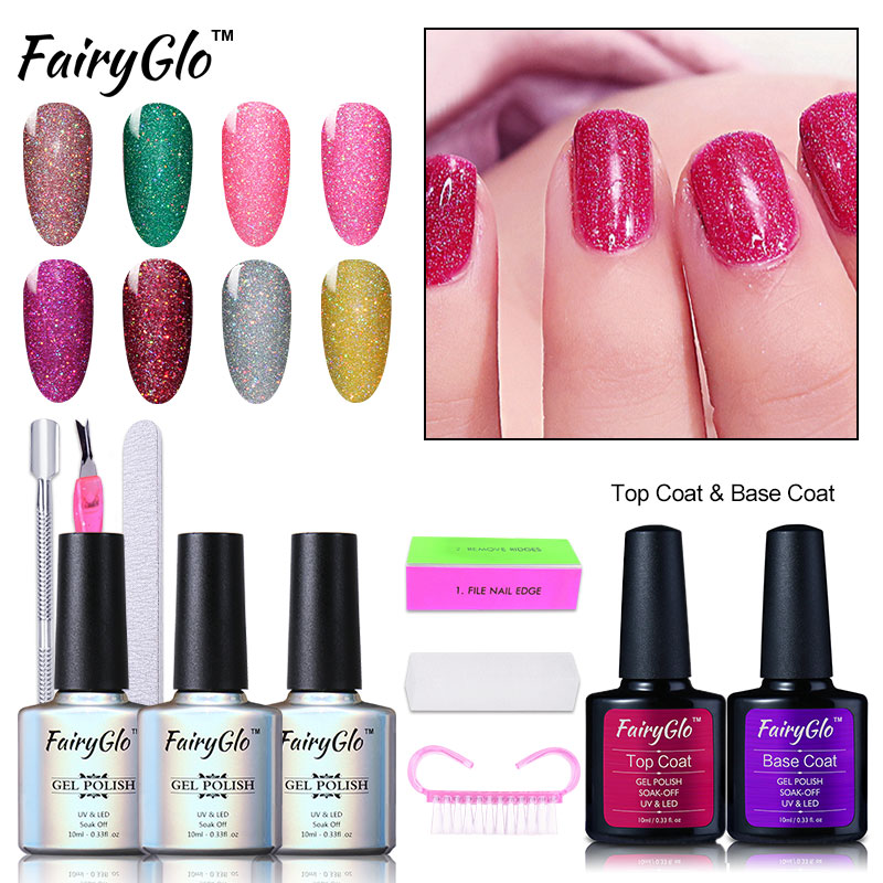 FairyGlo 3pcs Nail Gel 1+1 Top Coat Base Coat Color Change Gel Nail ...