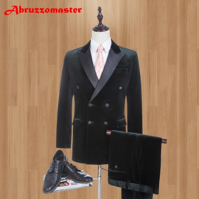 Brand Velvet Double Breasted Men Suits Wedding Suits For Best Men