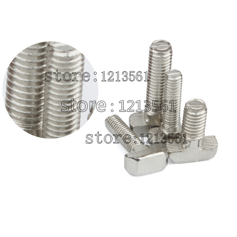 100pcslot M5*25 Nickel Plated Carbon Steel Hammer Head Bolt Aluminum Connector T Head Screws For 2020 Aluminum Profile