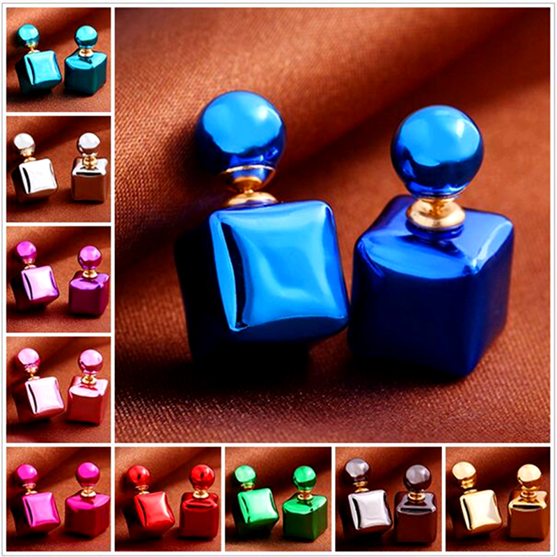 girl small brand gold fashion light candy color cube simulated pearl discount stud earrings brincos cc ali express jewelry