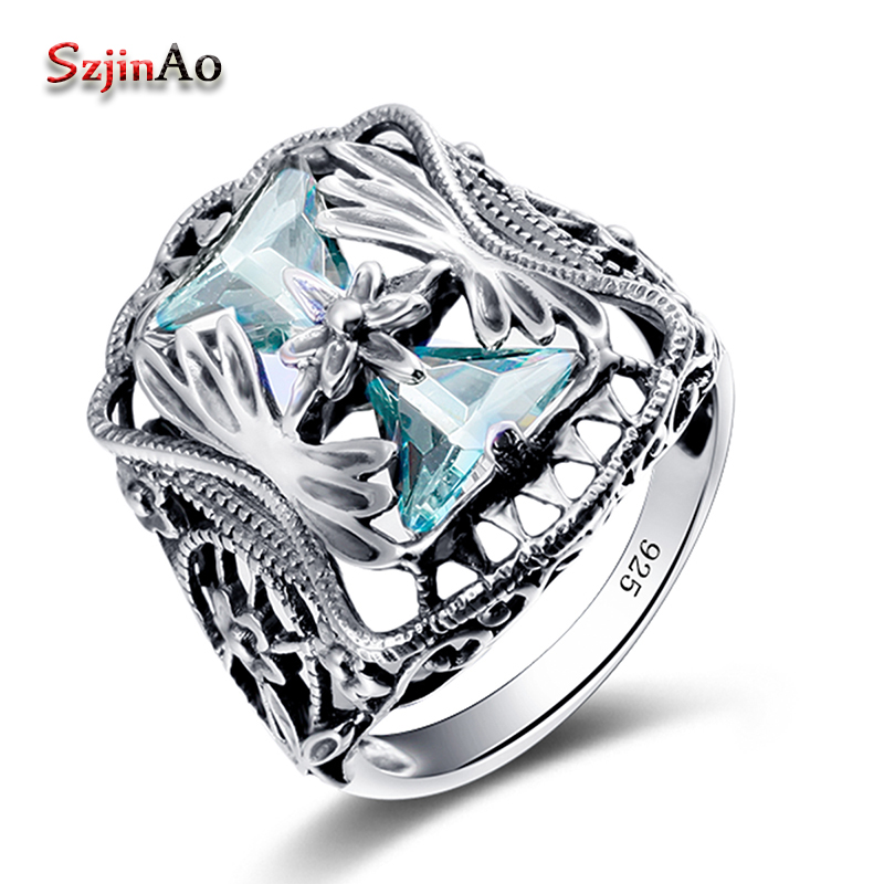 Szjinao Wholesale 925 Sterling Silver Big Rings For Women Blue Cubic Zirconia anel Petals Gift Vintage