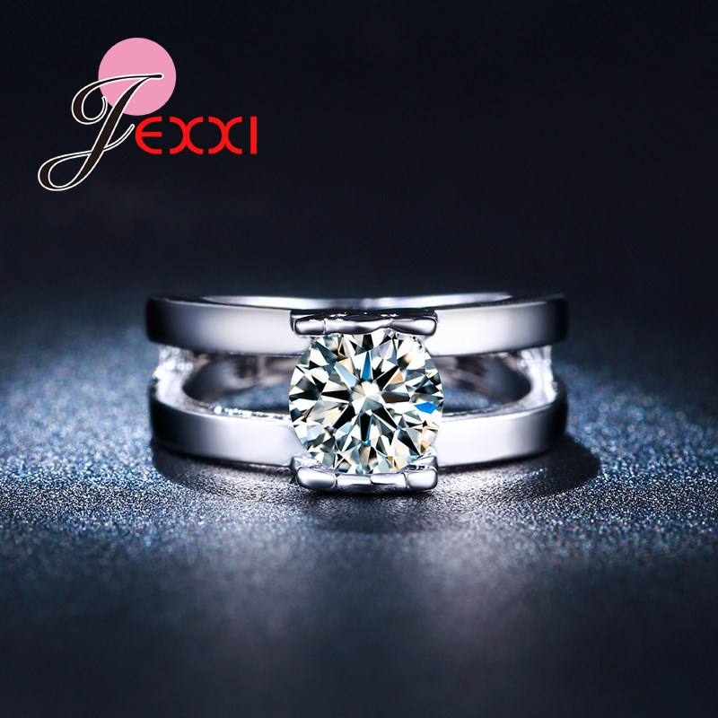 JEXXI Silver Fashion High Quality Women Wedding Jewelry Accessories Double Two Band Rings Lovely Bear Charm