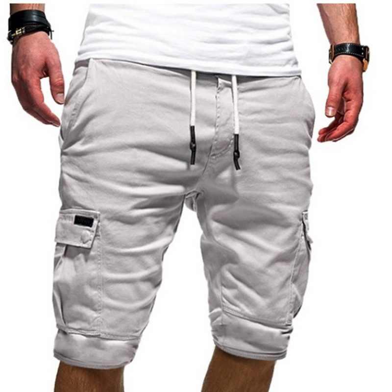 HEFLASHOR 2019 New Mens Shorts Fitness 캐주얼 Drawstring Short Pants 고품질 반바지 남성용 멀티 포켓 스포츠 반바지