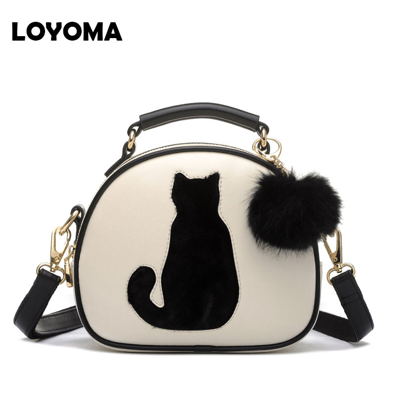 2017 Women Shoulder Bags Crossbody Bag Messenger For Girls Small Handbag PU Leather Full Moon Candy Color Cute Cat With Fur Ball