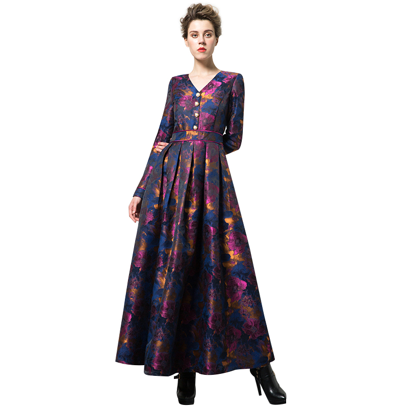 New Arrival Quality Embroidery Luxury Long Dress Women Long Sleeve Vintage Party Dresses V-neck Buttons Plus Size Maxi Robe 6423