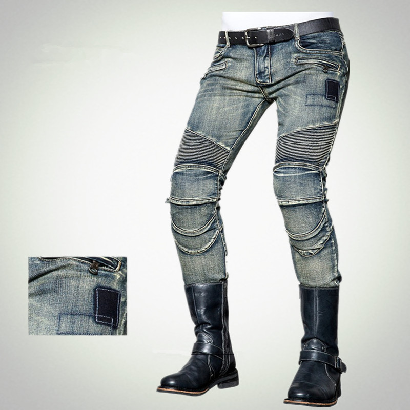 Fashionable Slim Men's Jeans uglybros Nostalgic Wear Jeans Motorcycle Protection Knee Pants Locomotive Ride Pants 2017 new fashion men slim fit stretch biker jeans patchwork elastic white jeans pants for motorcycle famous brand size 28 to 38
