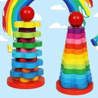 Montessori materiais matemática arco-íris torre diy crianças aprendizagem de madeira educacional combinar educação precoce quebra-cabeça matemática presente de natal brinquedos