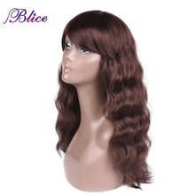 Blice Synthetic African American Wig For Women Long Natural Wavy Wig 24 100% Kanekalon Synthetic Wig Pure Color #33 Available long center parting corn hot wavy colormix synthetic wig