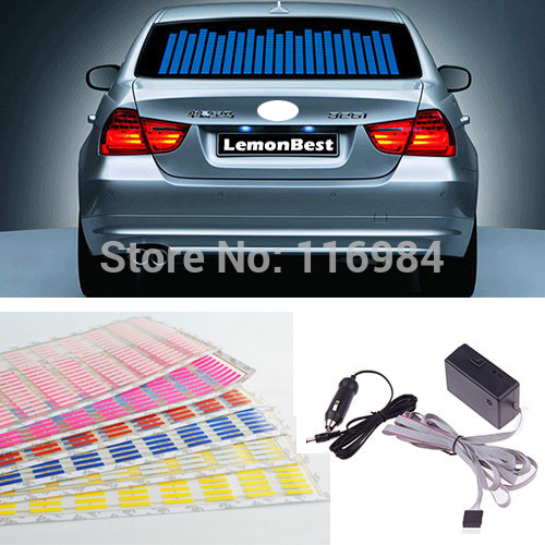 NEW 45x11cm LED Car Sticker Music Rhythm Flash Light Sound Activated Equalizer ароматизатор автомобильный koto ниндзя new car гелевый 45 мл