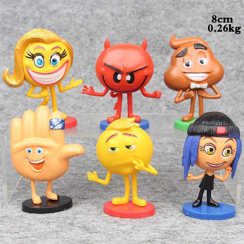 6Pcs/set The Emoji Movie Action Figure Toys 8 cm Cartoon Happy Happens Red Devil Emoji Model Collection Cute Toys for Kids Gift r b parker s the devil wins