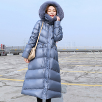 Real Natural Fox Fur Collar 2020 Women Winter Jacket Duck Down Parka Hooded Down Jacket Long Coat Korean Style Slim Outerwear