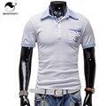 Marcas da camisa de polo dos homens 2017 masculino bolso padrão de impressão de manga curta moda casual slim homens polos camisola x
