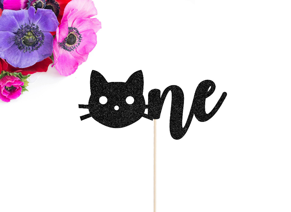 <font><b>Black</b></font> Glitter <font><b>Cat</b></font> One <font><b>Cake</b></font> <font><b>Topper</b></font>,First Birthday <font><b>Cake</b></font> <font><b>Topper</b></font>,Handcrafted Party Decor, Party Supplies image
