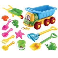13Pcs High Quality Children Outdoor Beach Sand Toy Beach Bucket Shovel Wheelbarrow Beach Game Kid Beach Toy Set Color Random