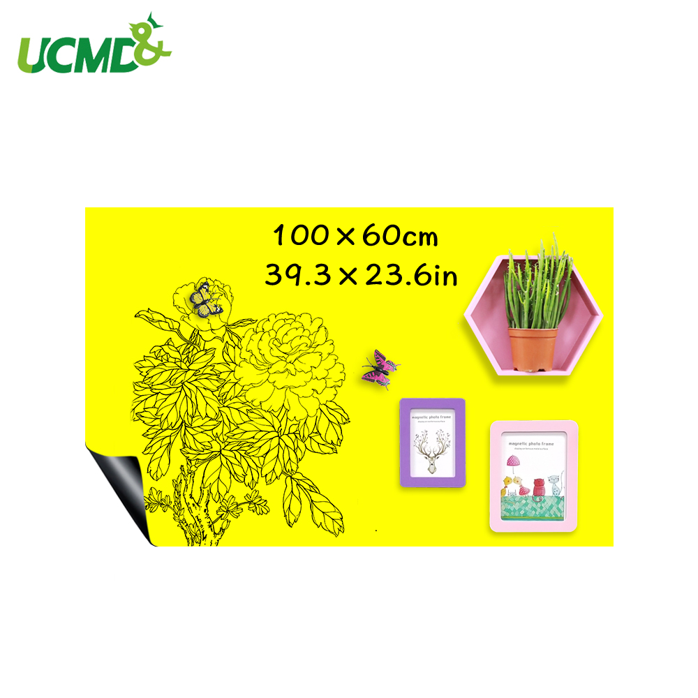 Erasable Ferrous Hold Magnets Writing Whiteboard Yellow Color Dry Wipe Kids Learning Painting Drawing Board Wall Decor Stickers