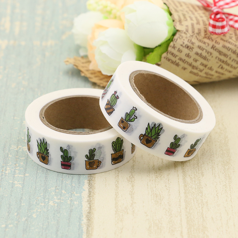 Cactus Printing Washi Tape Quality Stationery Diy Scrapbooking Photo Album School Scrapbooking Tools Kawaii Paper Stickers Mask red washi tape diy glitter colors stationery decorative scotch tape scrapbooking photo album school tools kawaii scrapbook paper