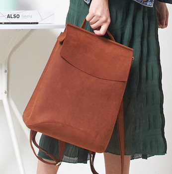 women New Genuine LeatherFashion Casual Crazy Horse Cow Leather Lady Backpack Shoulder school  IPAD Crossbody Bag