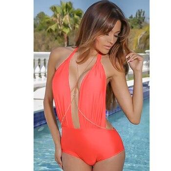 NAKIAEOI Sexy Halter Swimwear Female One Piece Swimsuit Swimwear Women One Piece Swimsuit Backless Beach Bathing Suits Swimming 1