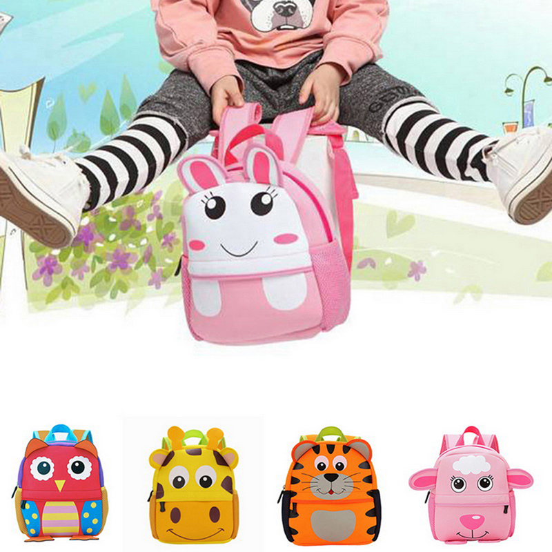 3D Cute Animal Design Backpack Kids School Bags For Girls Boys Cartoon Shaped Children Book Bag(China)