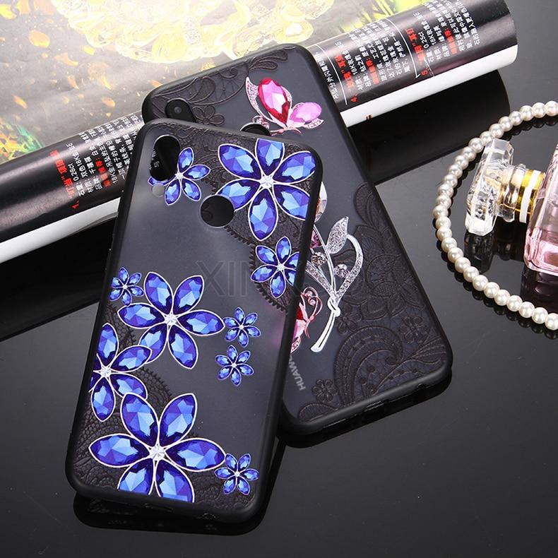3D Lace Diamond Floral Case On Honor 7C 7A Pro 8 9 View 10 For Huawei Mate 20 10 P20 P10 P8 Lite Nova 3 3I P Smart Y6 Y7 Y5 2018