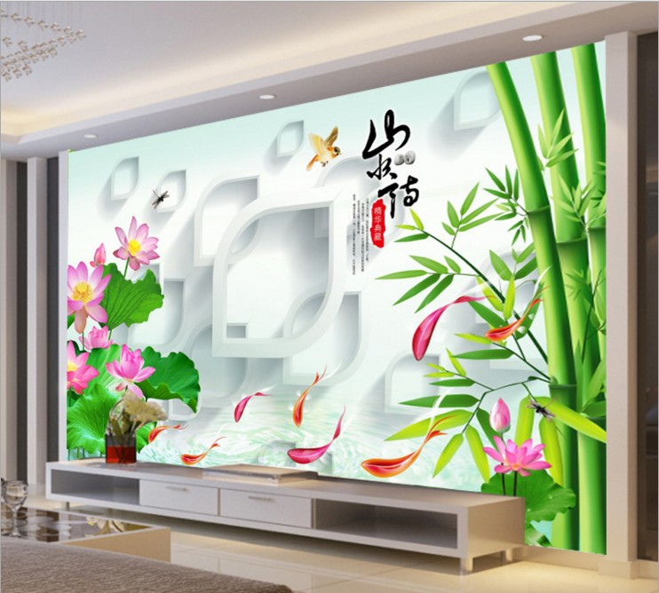 can customized Chinese style bamboo fish flowers large 3d mural wallpaper wall stickers waterproof TV wall dinning room bedroom book knowledge power channel creative 3d large mural wallpaper 3d bedroom living room tv backdrop painting wallpaper