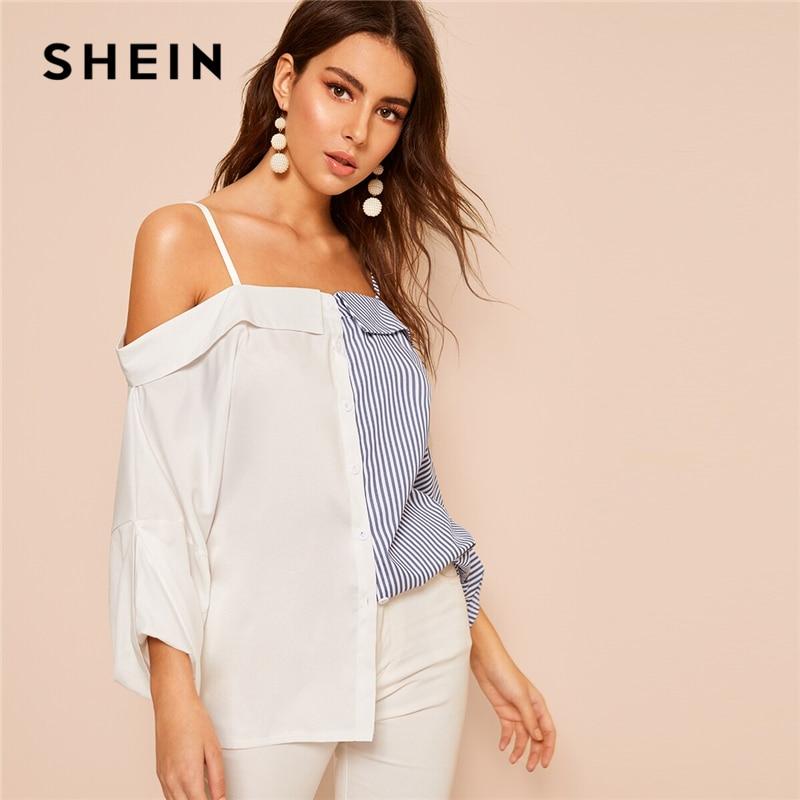 SHEIN Abaya Multicolor Contrast Striped Print Straps Cold Shoulder Shirt Blouse Women Spring Summer Colorblock Elegant Blouses