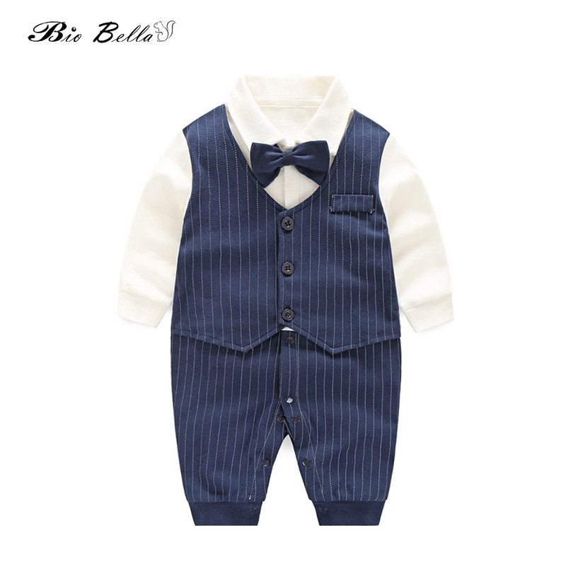 Spring Autumn Baby Boy Clothing Cotton Long Sleeve Striped   Romper   Bow Tie Decor Gentleman Baby Clothes Roupas Infantil Babies