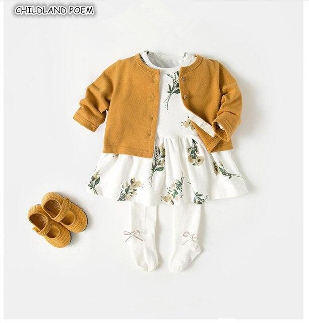 Bé Cô Gái Quần Áo Mùa Thu Bé Gái Quần Áo Bộ Váy + Cardigan 2 cái 100% Bông Toddler Quần Áo Set Toddler cô gái Quần Áo