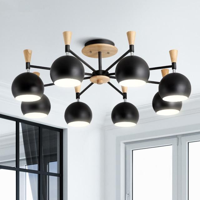 Modern Led Macaron Wood Chandelier Loft Lighting Fixtures Nordic Hanging Lights Bedroom Illumination Living Room Suspended Lamps
