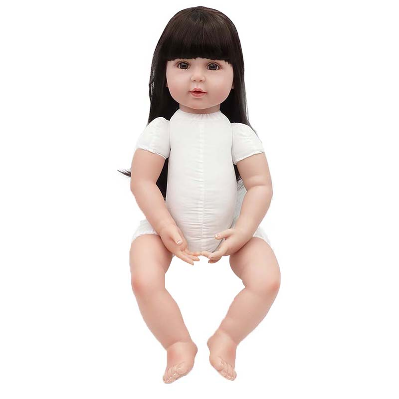 22inch  Reborn Toddler Dolls Handmade Baby Lifelike Vinyl Naked Girl Doll Long Hair Cute Silumation DIY Best Gifts for Kids 网 红 小 姐姐